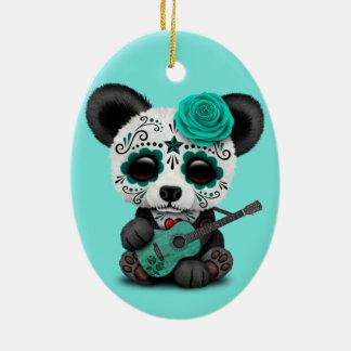 Blue Sugar Skull Panda Playing Guitar Ceramic Ornament