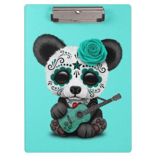 Blue Sugar Skull Panda Playing Guitar Clipboard