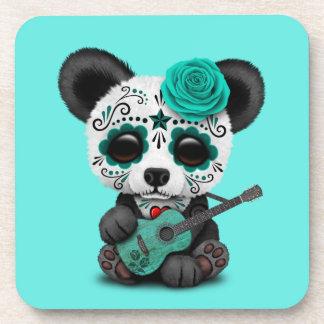 Blue Sugar Skull Panda Playing Guitar Coaster