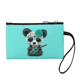 Blue Sugar Skull Panda Playing Guitar Coin Purse