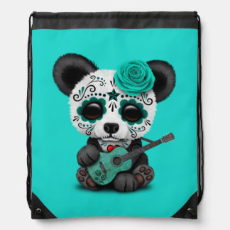 Blue Sugar Skull Panda Playing Guitar Drawstring Bag