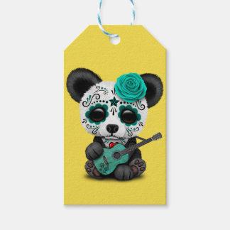 Blue Sugar Skull Panda Playing Guitar Gift Tags