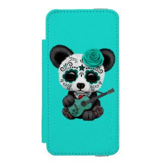 Blue Sugar Skull Panda Playing Guitar Incipio Watson™ iPhone 5 Wallet Case