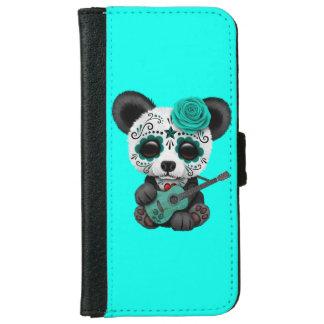 Blue Sugar Skull Panda Playing Guitar iPhone 6 Wallet Case