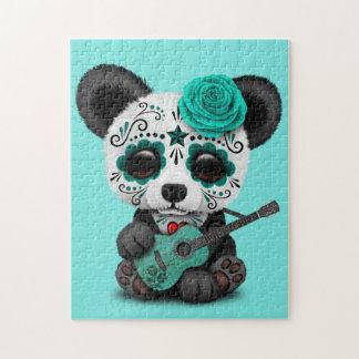 Blue Sugar Skull Panda Playing Guitar Jigsaw Puzzle