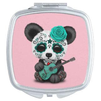 Blue Sugar Skull Panda Playing Guitar Makeup Mirror
