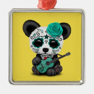Blue Sugar Skull Panda Playing Guitar Metal Ornament