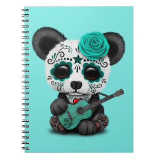 Blue Sugar Skull Panda Playing Guitar Notebook