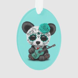 Blue Sugar Skull Panda Playing Guitar Ornament