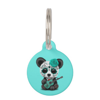 Blue Sugar Skull Panda Playing Guitar Pet Tag