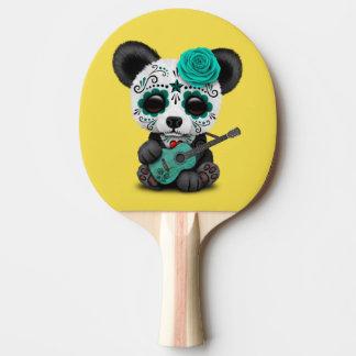 Blue Sugar Skull Panda Playing Guitar Ping Pong Paddle