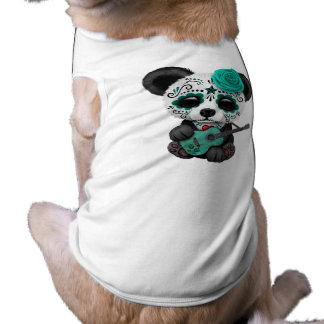Blue Sugar Skull Panda Playing Guitar Shirt