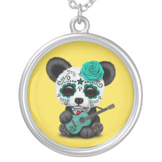 Blue Sugar Skull Panda Playing Guitar Silver Plated Necklace