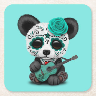 Blue Sugar Skull Panda Playing Guitar Square Paper Coaster