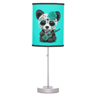 Blue Sugar Skull Panda Playing Guitar Table Lamp