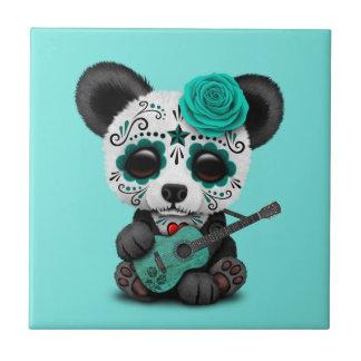 Blue Sugar Skull Panda Playing Guitar Tile