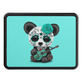 Blue Sugar Skull Panda Playing Guitar Trailer Hitch Cover