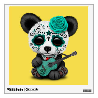 Blue Sugar Skull Panda Playing Guitar Wall Sticker