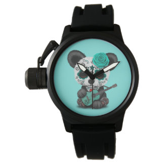 Blue Sugar Skull Panda Playing Guitar Watch