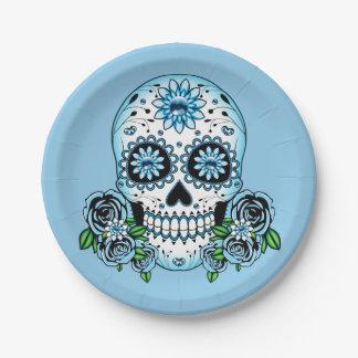 Blue Sugar Skull Paper Plate
