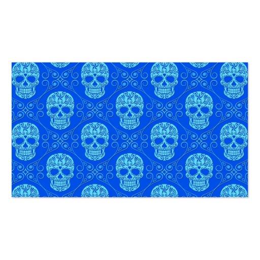 Blue Sugar Skull Pattern Business Card Template
