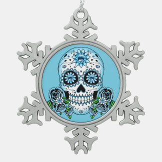 Blue Sugar Skull Snowflake Pewter Christmas Ornament