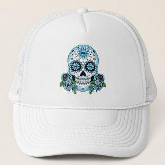 Blue Sugar Skull Trucker Hat