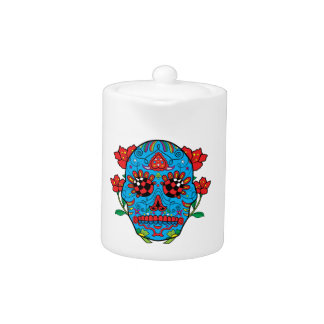 Blue Sugar Skull With Red Eyes and Flowers Tattoo