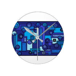 blue summer round clock