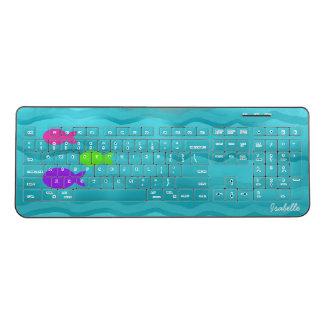 Blue Summer Sea Waves Colorful Fishes Cartoon Cute Wireless Keyboard