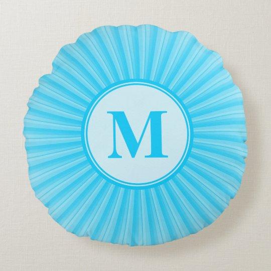 Blue Sun Monogram Customisable Round Pillow