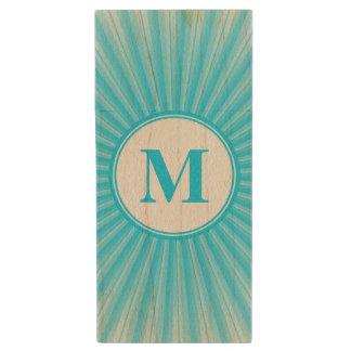 Blue Sun Monogram Wood USB Flash Drive