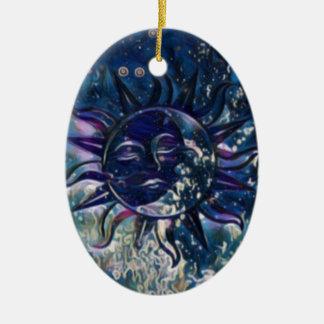 Blue Sun Moon Ceramic Ornament
