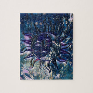 Blue Sun Moon Jigsaw Puzzle