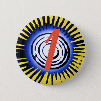 Blue Sun With Red Personalised Letter Or Number 2 Inch Round Button