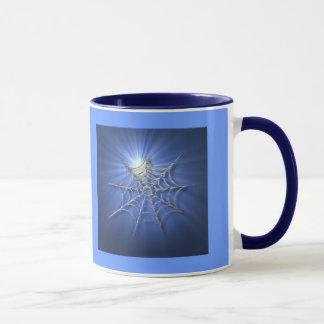 Blue Sunburst Spider Web Mug