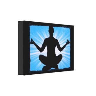 Blue Sunburst Yoga Meditation Zen Canvas Wall Art