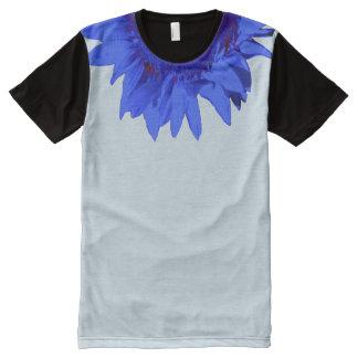 Blue Sunflower Accent Collar on Light Blue All-Over-Print T-Shirt
