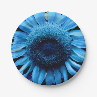 Blue  Sunflower Paper Plate