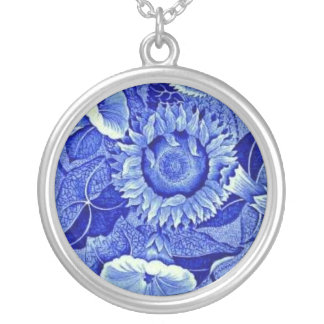 Blue Sunflower Vintage Costume Jewelry Charm