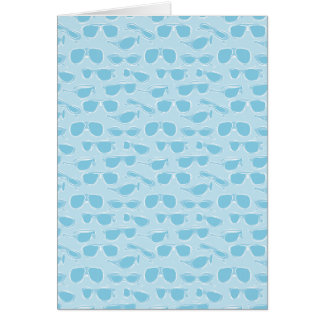 Blue sunglasses pattern greeting card