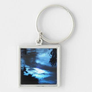 Blue Sunrise in the Clouds Silver-Colored Square Keychain