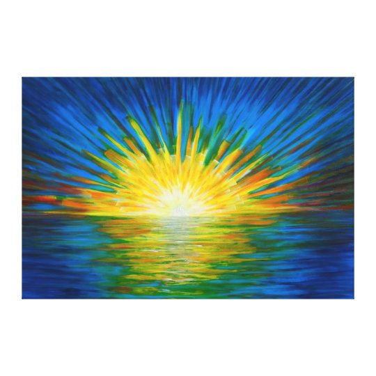 Blue sunrise reflections canvas print