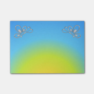 Blue Sunset and Silver Butterfly Profile Post-it Notes