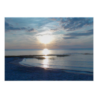 Blue Sunset over a Cape Cod Beach Poster