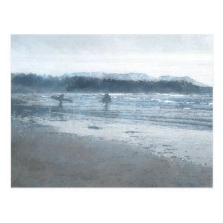 Blue surfers postcard