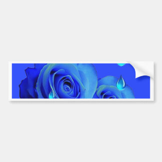BLUE  SURREAL DRIPPING ROSES & GREEN FROGS ART BUMPER STICKER