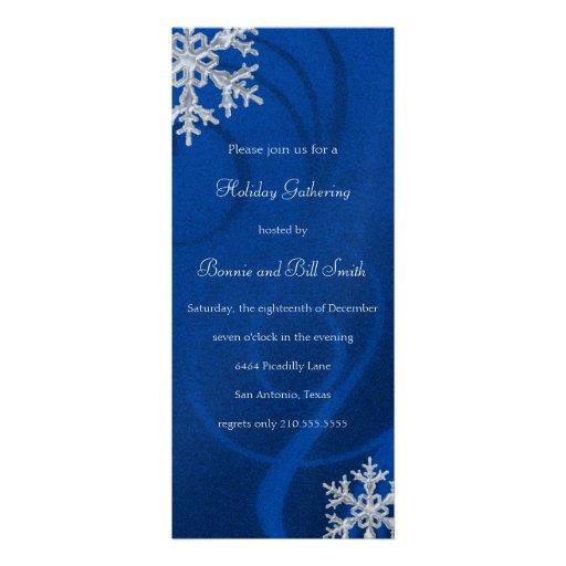 Blue Swashy Snowflake Holiday Party Invitation