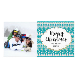 Blue Sweater Design Christmas Picture Photo Card