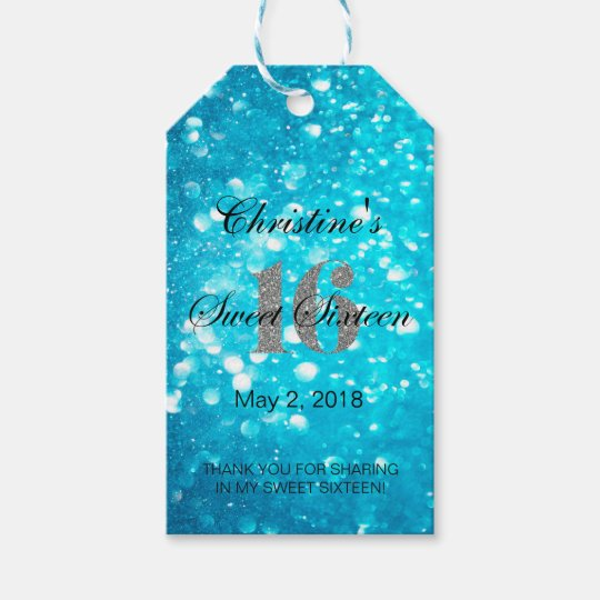 Blue Sweet 16 Silver Glitter Favour Gift Tags